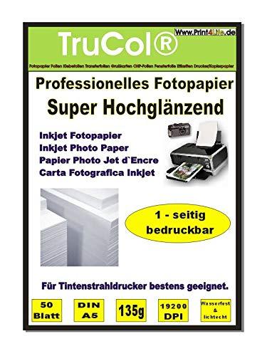 50 Blatt DIN A5 Glossy glänzendes Fotopapier 135g /m²; Gussgestrichenes, hochweißes und glänzendes Papier für hochqualitative Farbausdrucke. Das Fotopapier ist perfekt geeignet für fotorealistische und digitale Ausdrucke mit brillianter Farbwiedergabe