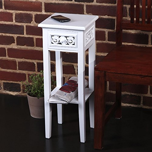 COUNTRY SIDE STYLE TELEPHONE TABLE white washed wood from XTRADEFACTORY