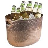 Buddy´s Bar - Flaschenkühler, Getränkewanne, 7 Liter, Getränkekühler, hochwertiger Weinkühler, Sektkühler aus Aluminium, 30 x 23,5 cm, Höhe 23 cm, Kupfer gehämmert