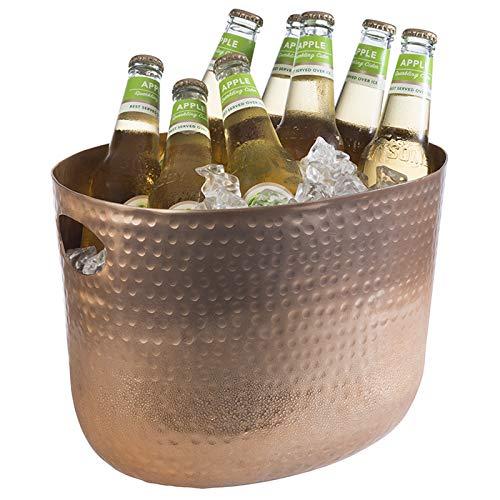Buddy's Bar - Secchiello per Il Ghiaccio, refrigeratore per Bottiglie, capacità 7 Litri, refrigeratore per Bevande, per Vini, per Champagne, glacette, 30 x 23,5 cm, Altezza 23 cm, Rame martellato
