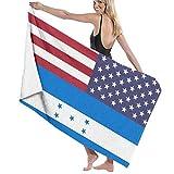 Abel Berth Toalla de baño Unisex Honduras y Bandera Americana Toallas de Playa Impresas de Microfibra Suave para Adultos Toalla de Viaje