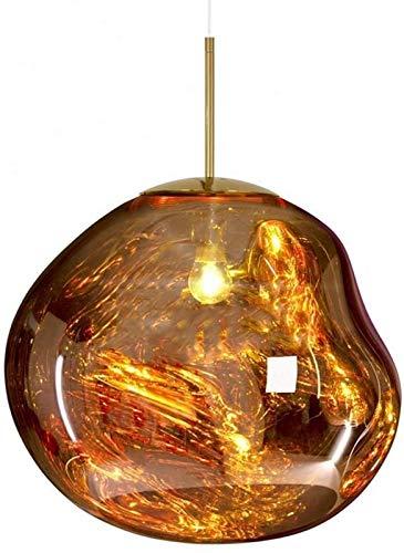 JJDSN Lampada a Sospensione Lampadari Moderni Melt Lampade a Sospensione/Luci Vetro Lava Irregolare Argento/Oro/Rosso Rame Specchio Soggiorno Lampade a Sospensione, Bar, Cucina, Oro, 20CM