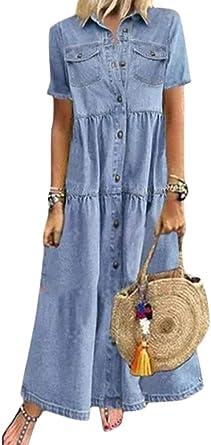 Tomwell Mujer Vestido de Denim Retro Vestidos Casual Túnicas Sueltas Verano Playa Camisa Larga Blusa Vaquera Mini Manga Corta Vestido