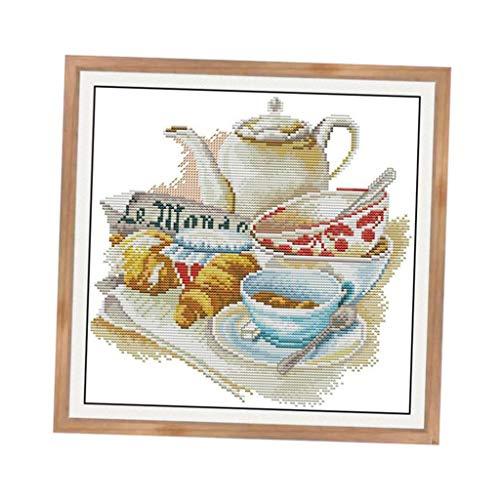 dailymall Kreuzstich Stickpackungen Vorgedruckt Bilder (Kaffeetasse) Stickset mit Stickvorlage zum Selbersticken - 37x37cm 11CT