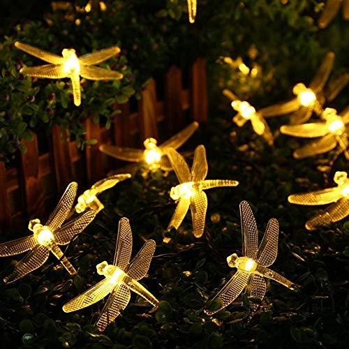 Guirnalda de luces solares para jardín, 4 m, 20 ledes, resistente al agua, para interior y exterior, patio, Navidad, bodas, fiestas, vacaciones, decoración