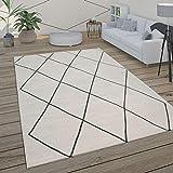 Paco Home Alfombra Salón Motivo Escandinavo Rombos Moderno Blanco Varios Diseños Y Tamaños, tamaño:120x170 cm, Color:Blanco 2