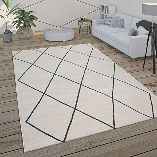 Paco Home Teppich Wohnzimmer Skandi Rauten Muster Modern Weiß Verschiedene Designs Größen, Grösse:160x230 cm, Farbe:Weiß 2