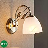 Lindby Wandleuchte, Wandlampe Innen 'Michalina' dimmbar (Retro, Vintage, Antik) aus Glas u.a. für Wohnzimmer & Esszimmer (1 flammig, E27, A++) - Wandstrahler, Wandbeleuchtung Schlafzimmer /