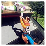 JSJJAWS Perfect Plush Toy Sherif Woody Buzz Lightyear Car Dolls Plush Toys Outside Hang Toy Cute Auto Accessories Car Decoration 20/35/40CM Indoor Decorations (Color : 35CM Woody Buzz)