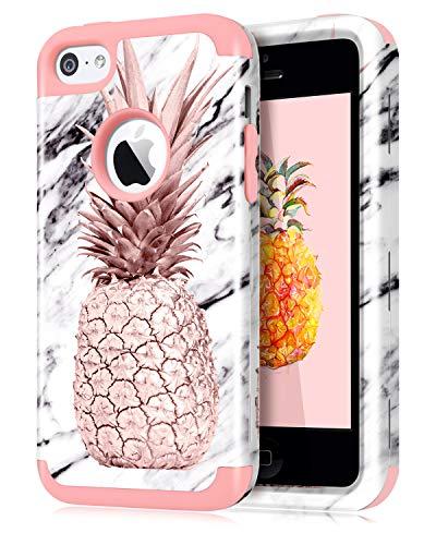 Dailylux iPhone 5C Funda,Carcasa iPhone 5c Funda iPhone 5c híbrido de Alto Impacto de Silicona Suave y Cubierta de la Caja Dura de la PC para iPhone 5C-Piña+Oro Rosa