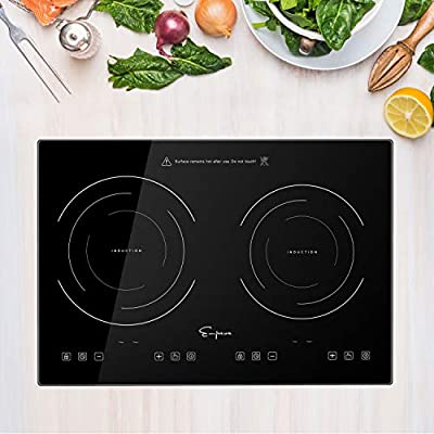 "Empava 20.5"" Double Elements Electric Stove 1800W Induction Cooktop with Two Separate Heating Zones, Timer, 9 Temperature and Power Levels, Kids Safety Lock, Touch Sensor Control Black"