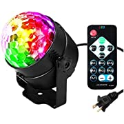 LED Disco Ball Party Lights, SOLMORE Ripple Light Sound Activated DJ Lights for Parties 7 Colors Water Wave Ocean Projector Strobe Light for Stage Wedding Bar Karaoke Birthday Gift 3W (with Remote)
