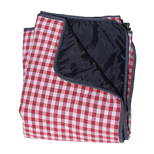 Extra große Picknickdecke - Karomuster Rot (gepolstert)