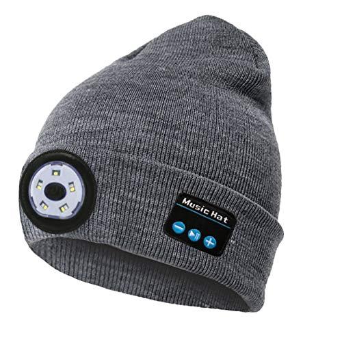 jjff Gorro con Bluetooth con luz LED Gorro de Punto Musical USB Recargable inalámbrico Invierno cálido Gorro para Correr esquí Senderismo Camping Ciclismo Hombres Mujeres