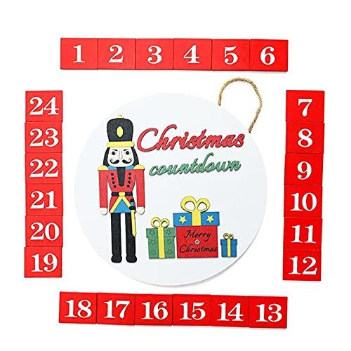 Calendario dell'Avvento di Natale in legno tondo porta gancio con 24 magnetico di ricambio calendario di Natale conto alla rovescia