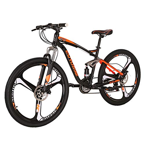 LZBIKE Mountain Bikes E7 27.5inchs Bicycle Steel Frame 21 Speed Shift Left 3 Right 7 Frame Shock Absorption 3-Spoke Wheels Mountain Bicycle Orange