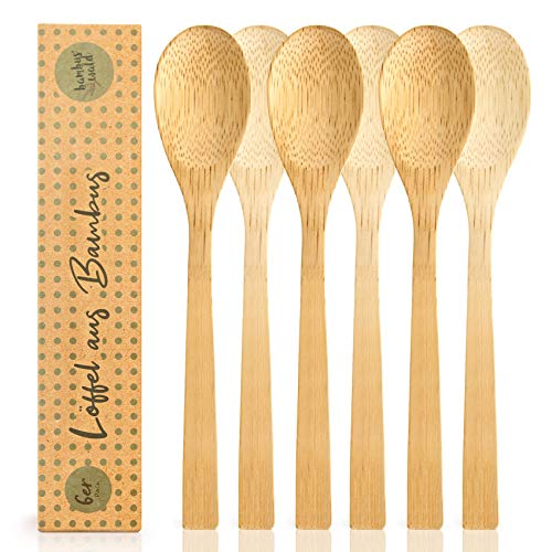 bambuswald© 6 Stück plastikfreie Löffel | Esslöffel aus 100% Bambus - ökogisch & nachhaltiges Essbesteck | Besteck ideal für Grillparty, Picknick, Camping - Reisebesteck Partybesteck Grillbesteck