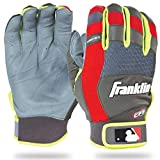 Franklin Sports 2016 MLB X-Vent Pro - Guantes de bateo (par), Niños, 21304F2, Gray/Red/Optic Yellow, Youth M