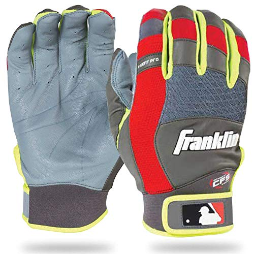 Franklin Sports Adult MLB X-Vent Pro Batting Gloves, Adult Small, Pair, Gray/Red/Optic Yellow