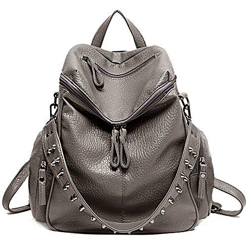 UTO Damen Backpack Purse 3 tragen PU gewascht Leder Niet besetzt Damen Rucksack Rücksack Schultertasche Khaki