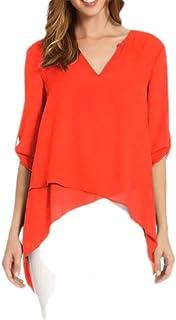 Yeirui Women's Roll Up Sleeve Irregular V Neck High Low Tops Chiffon Shirts Blouse