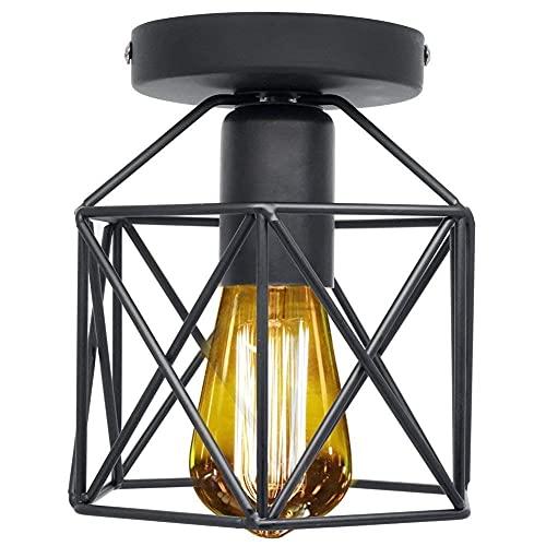 BINHC Lámpara de Techo Tipo Candelabro, Lámpara de Techo Industrial Vintage, Lámpara de Techo Retro Industrial, Pantalla de Jaula de Metal Geométrica Lámpara de Montaje en Rubor con Enchufe E27
