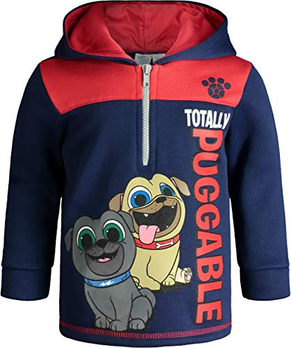 Disney Puppy Dog Pals Toddler Boys Fleece Hoodie Pullover Sweatshirt Zipper Navy 4T