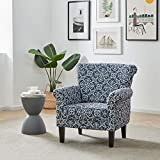 BELLEZE Rosette Scroll Arm Fabric Upholstered Club Chair Nailhead Trim Accent Chair, Navy/White