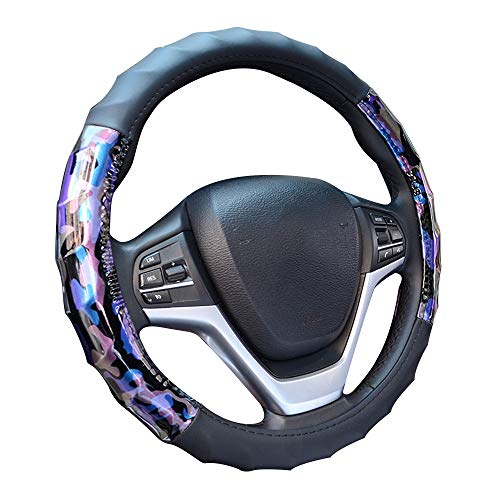 CHARMCHIC Camo Purple and Blue Car Steering Wheel Cover for Women,Universal 15 Inch,Comfortable,Heavy Duty,Odorless and Skidproof Microfiber Leather,Sport and Ergonomic Design