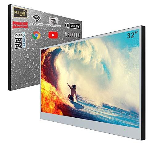 Soulaca 32 inches Full HD Smart Bathroom Hotel Advertising Monitor LED TV IP66 Waterproof (Velasting FBA)