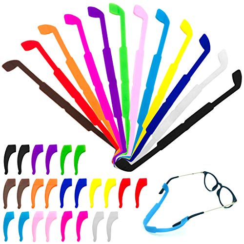 CKANDAY 12 Pack Anti Slip Kinder/Erwachsene Brillen Straps mit 12 Paar Ohr Griff Haken, Sicherheitsglas Halter Brillen Halter für Sport Männer Frauen Augenschutz-12 Farben