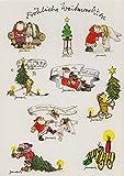 Janosch Sticker Postkarte Oh du Fröhliche Weihnachtsmann mit Engeln