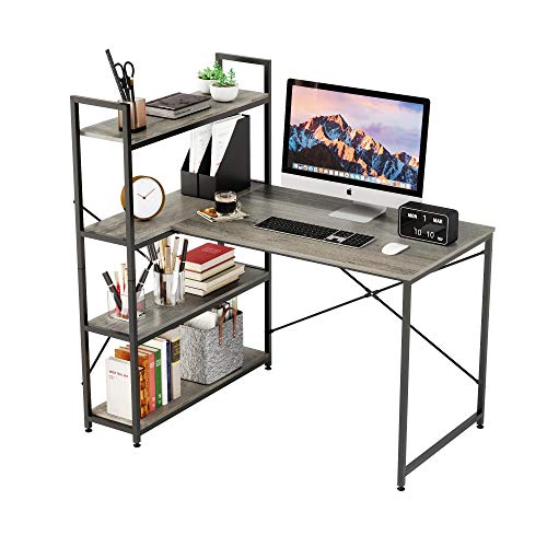 L-Shaped Desk with Shelves | Nost & Host Small Corner Desk | Compact Size with 4-Tier Shelf | Home Office Modern Style Computer Desks | 46 Inch (Walnut Gray)