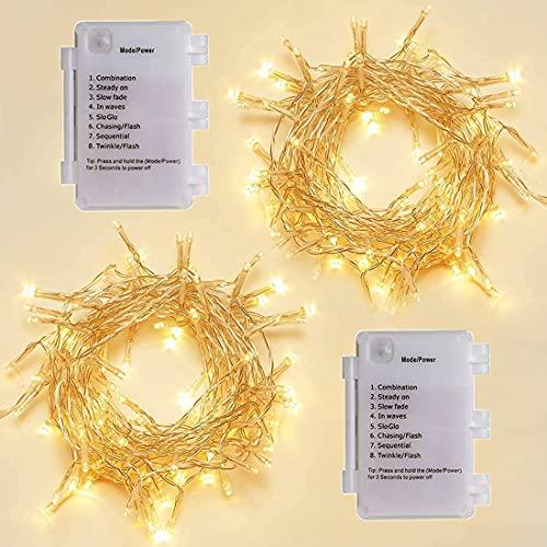 Starker 2 cadenas de luces LED con 40 pilas, con temporizador, 8 modos, resistente al agua IP65, para Navidad, bodas, fiestas, jardín, festivales, cocina (blanco cálido)