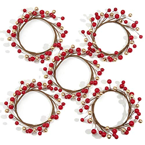 Candle Garland Rings, 5pcs Artificial Red and Gold Berry Candle Rings Christmas Candle Holder Rings Mini Berry Twigs Wreaths for Holiday Season Winter déCor Rustic Farmhouse Centerpiece