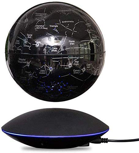 JJDSN wereldkaart, drijvend 360 graden & deg, drijvende zwarte wereldbol, draaibaar, met sterophanging, magnetisch, wereldkaart voor thuis, op kantoor, 6 inch