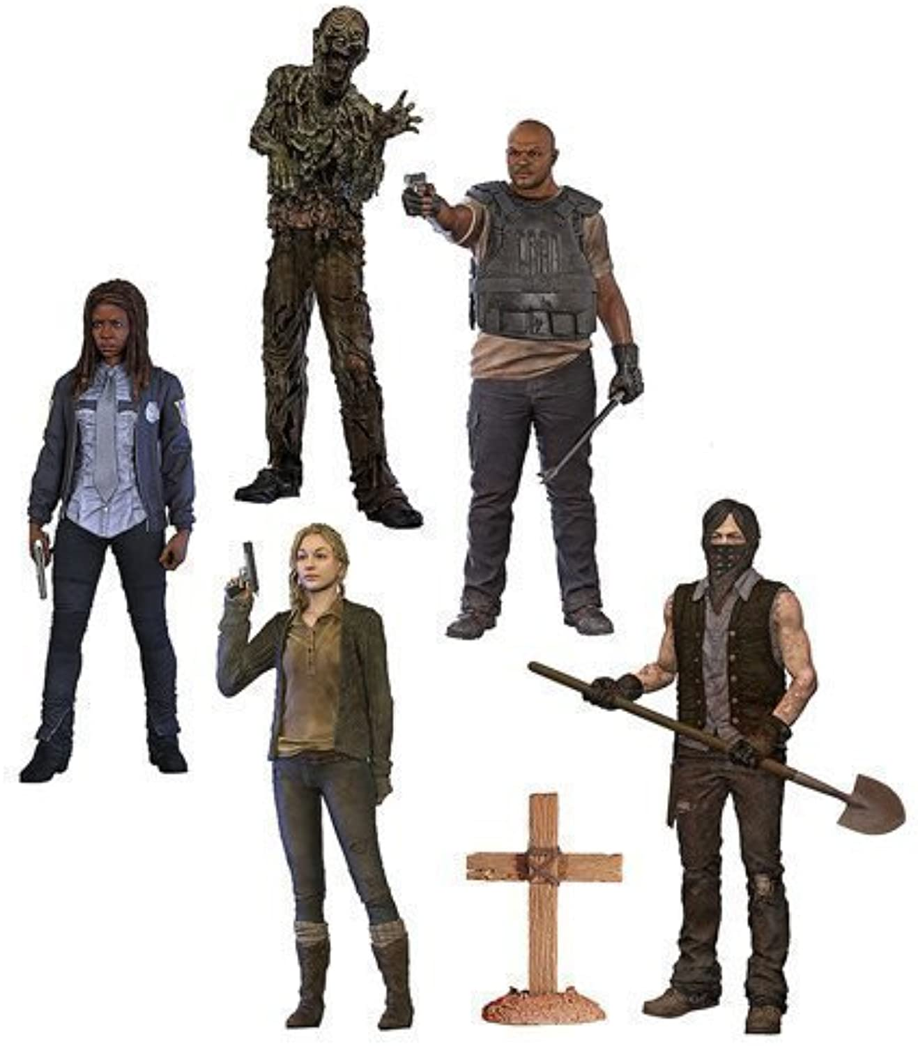 The Walking Dead TV Series 9 Beth Grüne, Grave Digger Daryl Dixon, T-Dog, Water Walker and Constable Michonne Action Figures Set of 5 by Walking Dead