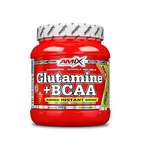 Amix Glutamine + BCAA Powder Superfine & Quickly Solubility, Muscle Building and Recovery Protein Powder with Micronized L-Glutamine and Amino Acids BCAA (Lemon-Lime, 300 g)