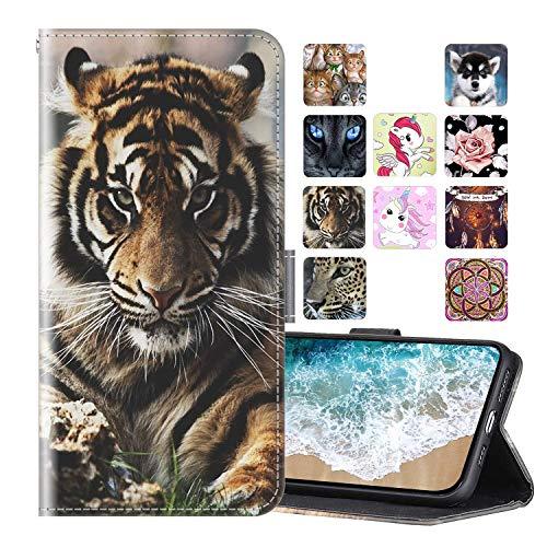 Cherfucome Hülle HTC Desire 19 Plus Handyhülle Schutzhülle Leder Handytasche HTC Desire 19 Plus Hülle Leder Brieftasche Ledertasche,Flip Hülle Wallet Lederhülle Tasche [A02*Tiger]