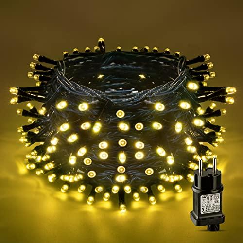 LED Lichterkette Außen, AKASUKI 30M 300LEDs lichterkette Strom mit 8 Leuchtmodis, IP44 Wasserdicht Weihnachtsbeleuchtung innen für Balkon, Garten, Terrasse, Hochzeit, Party, Tannenbaum Deko, Warmweiß