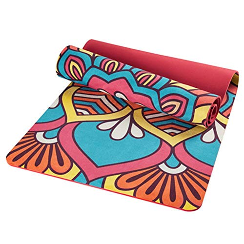 KEHUITONG 6 MM Lotus Diagrama de Yoga Mat Pad Antideslizante Que Adelgaza la Aptitud del Ejercicio colchoneta de Gimnasia de musculación Esterilla Pilates (Color : Red)