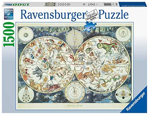 Ravensburger Puzzle 1500 pezzi, Mappa del Mondo di Animali Fantastici, Puzzles per Adulti, Dimensioni Puzzle: 80x60 cm, Relax, Stampa di alta qualità, Rompicapo, Logica