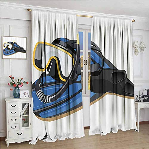 GUUVOR Ocean Room Darkened Curtain Sealife Deep Waters Scuba Diving in a Island Palms Sand Beach Print Insulated Room Bedroom Darkened Curtains W108 x L108 Inch Sky Blue and Sand Brown