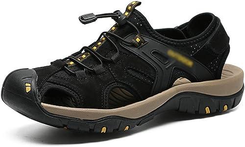 Casual Suede schuhe Herren Casual Outdoor Strand Schuhe Leder Rutschfeste Turnschuhe Herren Sandalen Herren Turnschuhe (Farbe   Schwarz Größe   42)
