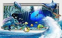 壁の壁画 壁紙 ウォールカバー ウエーブズ アンダーウォーター ワールド ドルフィン 壁画 壁紙 ベッドルーム リビングルーム ソファ テレビ 背景 壁 壁面装飾のための,400x280cm