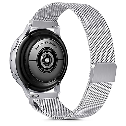 Gaoren Kompatibel mit Samsung Galaxy Watch Active/Active2 40mm 44mm/Watch 3 41mm Armband, 20mm Edelstahl Metall Ersatz Uhrenarmband für Gear Sport/S2 Classic/Garmin Vivoactive 3 (Silber)