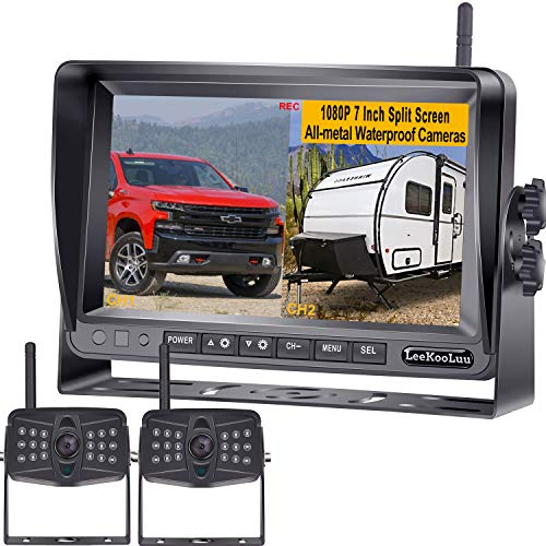 LeeKooLuu LK9 FHD 1080P DVR Digital Wireless 2 Backup Cameras for RV,Trailer,Truck,Motorhome,5th Wheel,7' IPS Split/Quard Screen High-Speed Observation/Backup System IP69K Waterproof IR Night Vision