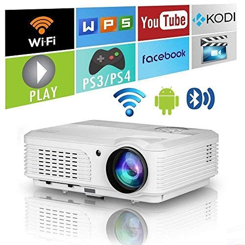 WXGA LCD Bluetooth HD Wifi Projector 4400 Lumen 1080P Wireless Smart Android LED Home Cinema Video Projectors HDMI USB VGA Audio Indoor Outdoor Movie Game TV Blueray DVD iPhone Mac PS4 Laptop Mac