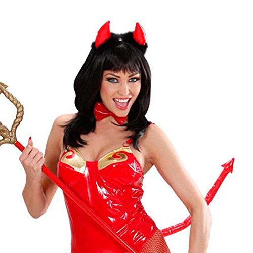 Amakando Ensemble Satan avec Cornes nœud Papillon et Queue démon Set Diable Sexy diablesse Rouge Enterrement de Vie de Jeune Fille soirée Enfer Accessoires