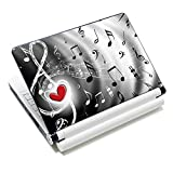iColor Laptop Skin Sticker Decal Covers 12' 13' 13.3' 14' 15' 15.4' 15.6 inch Laptop Skin Sticker Cover Art Decal Protector Notebook PC (Music & Red Heart)